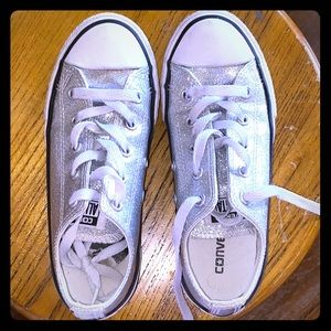 Limited edition silver glitter Converse. Sparkly!